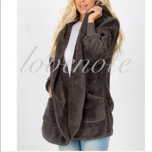 Soft Teddy Sherpa Jacket Coat Pockets Faux Fur